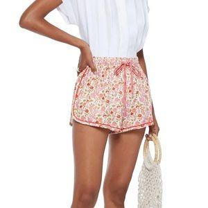 Zimermann Goldie Floral drawstring shorts